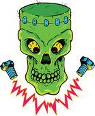 Frankenstein style skull vector illustra — Stock Vector