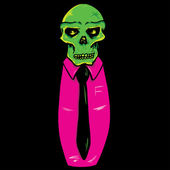 Skull wearing a suit and tie vector illu — Stock Vector