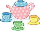 Cute classic style tea pot and cups illu — Stock Vector