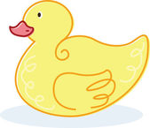 Cute yellow duck vector illustration — Stock Vector