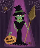 Wicked Witch halloween character vector — Stock Vector