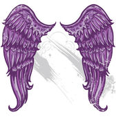 Hand drawn tattoo style wings converted — Stock Vector