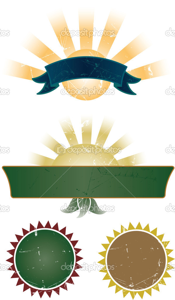 Ornate style banner and stamps collection. All elements are separate and fully editable — Stock Vector #2792838
