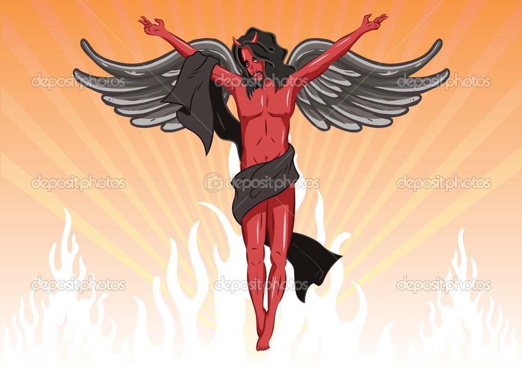 Male devil vector illustration. Fully editable. Male angel also available. View my full portfolio for more details. — Stock Vector #2793411