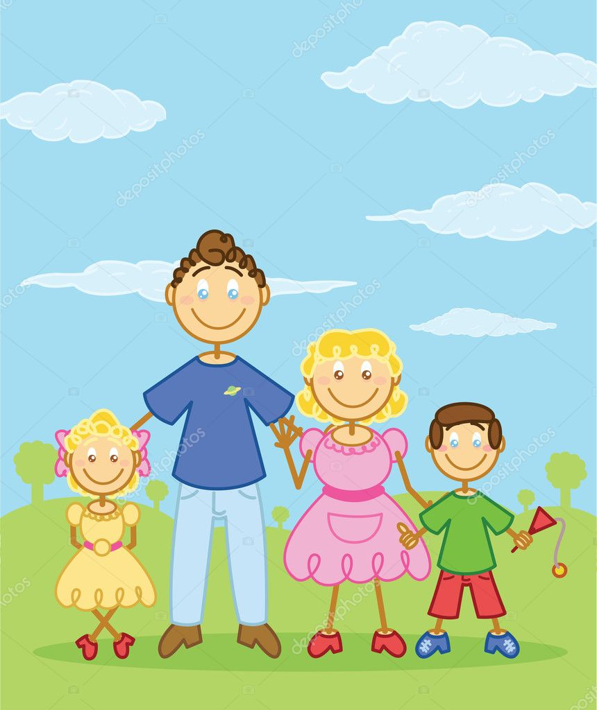 Happy family stick figure style illustration. Vector format fully editable — Stock Vector #2793426