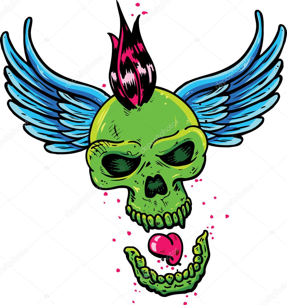 Punk tattoo style skull with wings vector illustration. Fully editable — Stock Vector #2794430