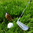 Golf clubs and ball still life image — Stock Photo