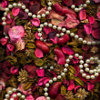 Dried flowers Leaves & Pearls — Stock Photo