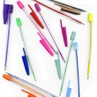 Colourful pens on a white background — Stock Photo