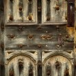 Stock Photo: Old rusty wooden gothic door detail