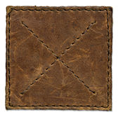 Brown scratched leather patch — Stock Photo
