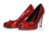 Ladies Sexy Red Sparkle high heel shoes — Stock Photo
