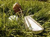 Palos de golf y la bola bodegón imagen — Foto de Stock