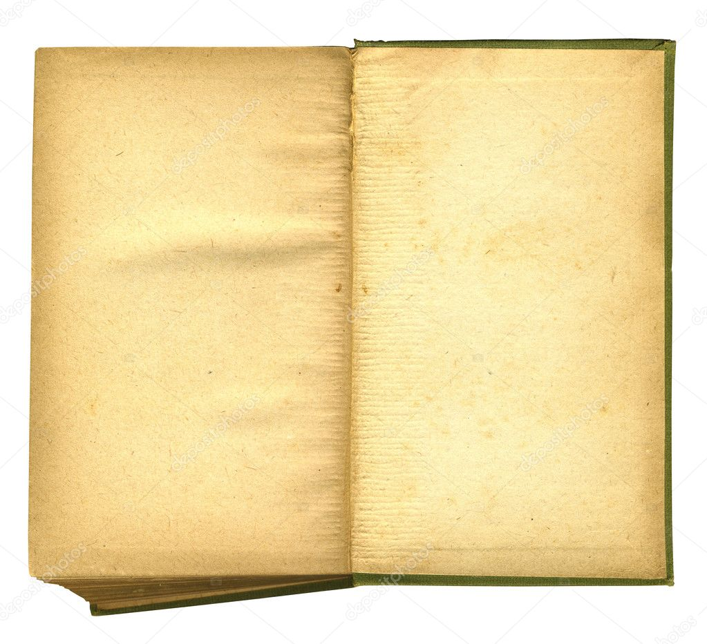 Old Open Book Featuring Rough Paper Texture includes clipping path — Stock Photo #2804509