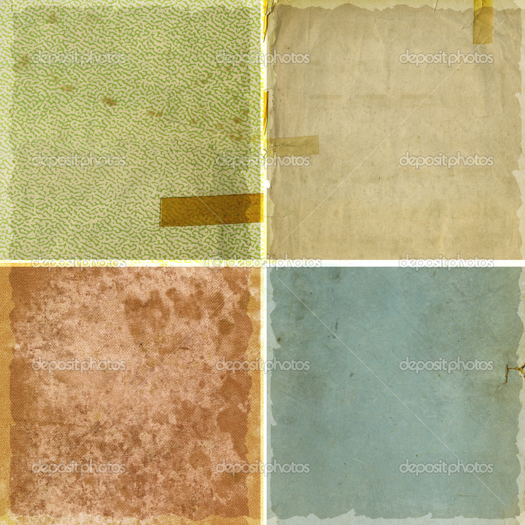 Collection of four rough grunge paper backgrounds — Stock Photo #2805327