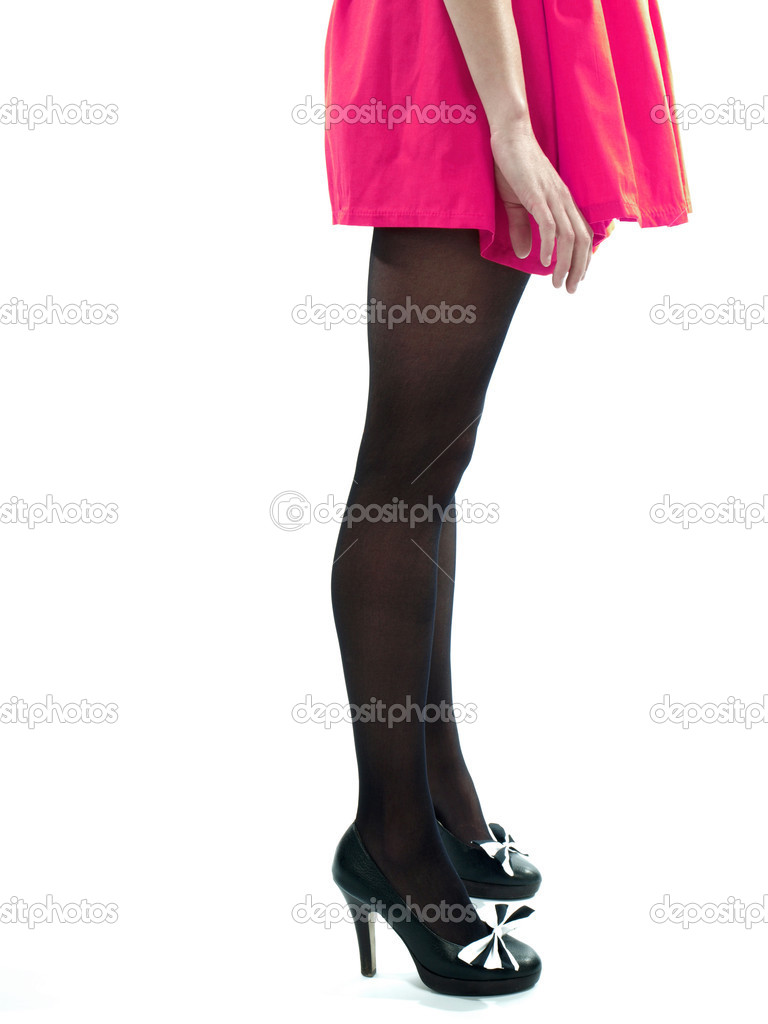 legs and black high heel shoes stock photo