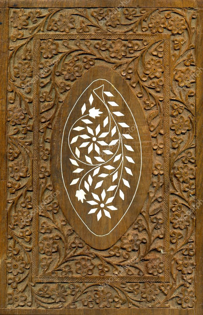 Wood carving pattern design elements stock image
