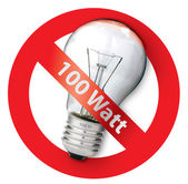 Ban for Old-style 100-watt light bulbs — Stock Photo