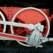 Wheels of an ancient steam locomotive — Stock Photo