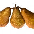 Stock Photo: Three yellow pears, separately on white.