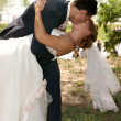 Stock Photo: Kiss of groom and bride