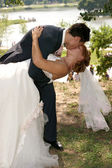 Kiss of the groom and the bride — Foto Stock