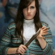 The young girl with a dagger — Stock Photo #2855090