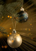 New Year's spheres on a fur-tree — Stock Photo