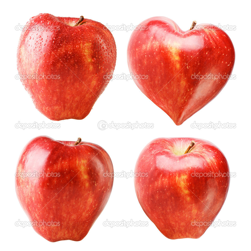 Red heart-shaped apple with water drops isolated on white. 4 foreshortenings — Stock Photo #3227916