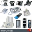 Collection of telephones - Stok Vektör