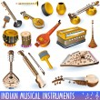 Indian music instruments — Stock Vector