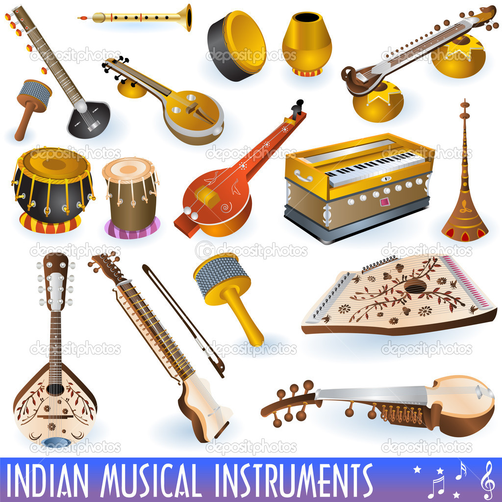 Indian music instruments — Stock Vector © Stiven #2731766