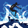 On the wave - Stock Vector