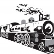 Steam train — Imagen vectorial