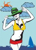 Bikini girl — Stock Vector