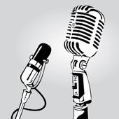 Interview with microphone — Stock Vector