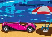 Carro velho na praia — Vetor de Stock