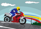 On motorbike — Stock Vector