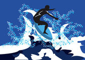 On the wave — Stock Vector