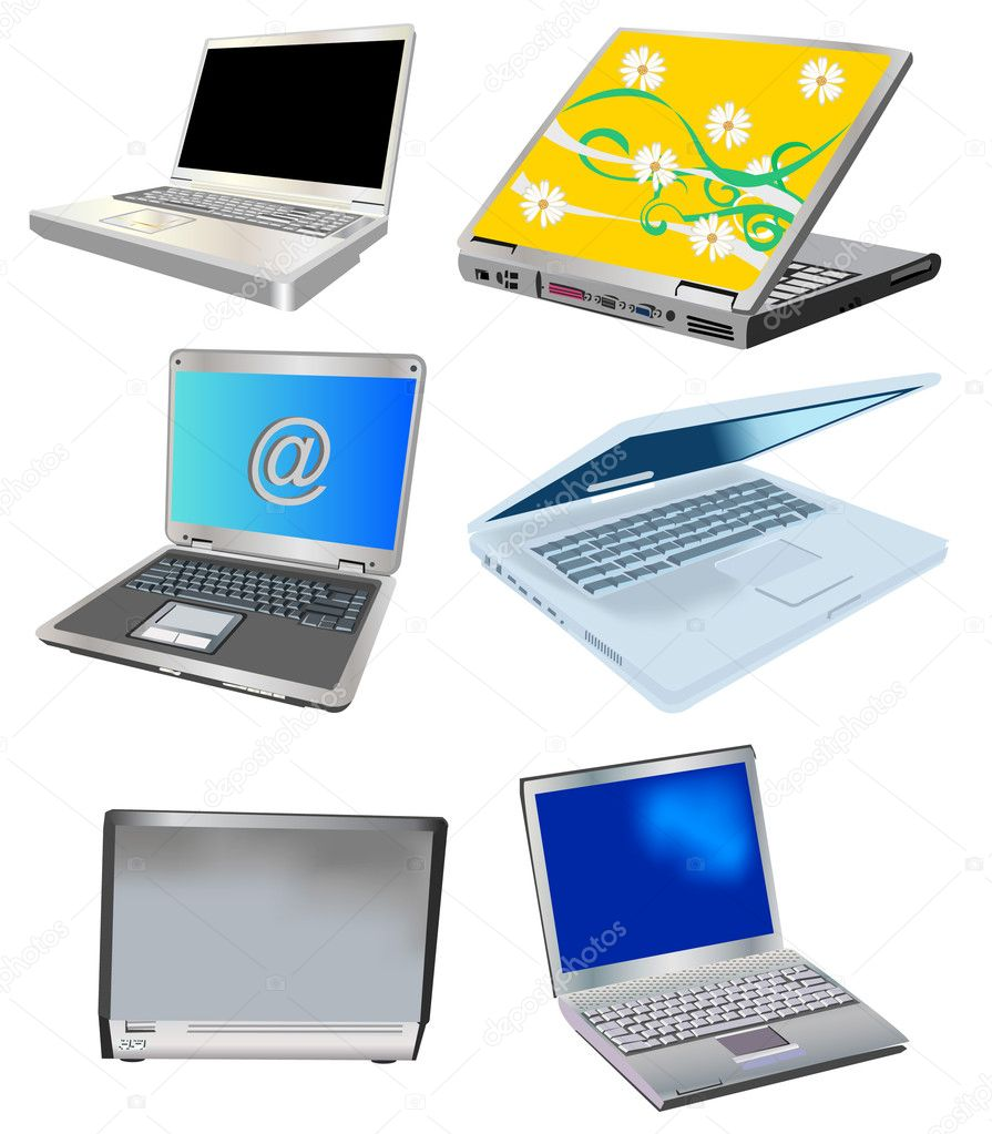 A collection of six vector illustration different laptops isolated on white background — Векторная иллюстрация #2838655