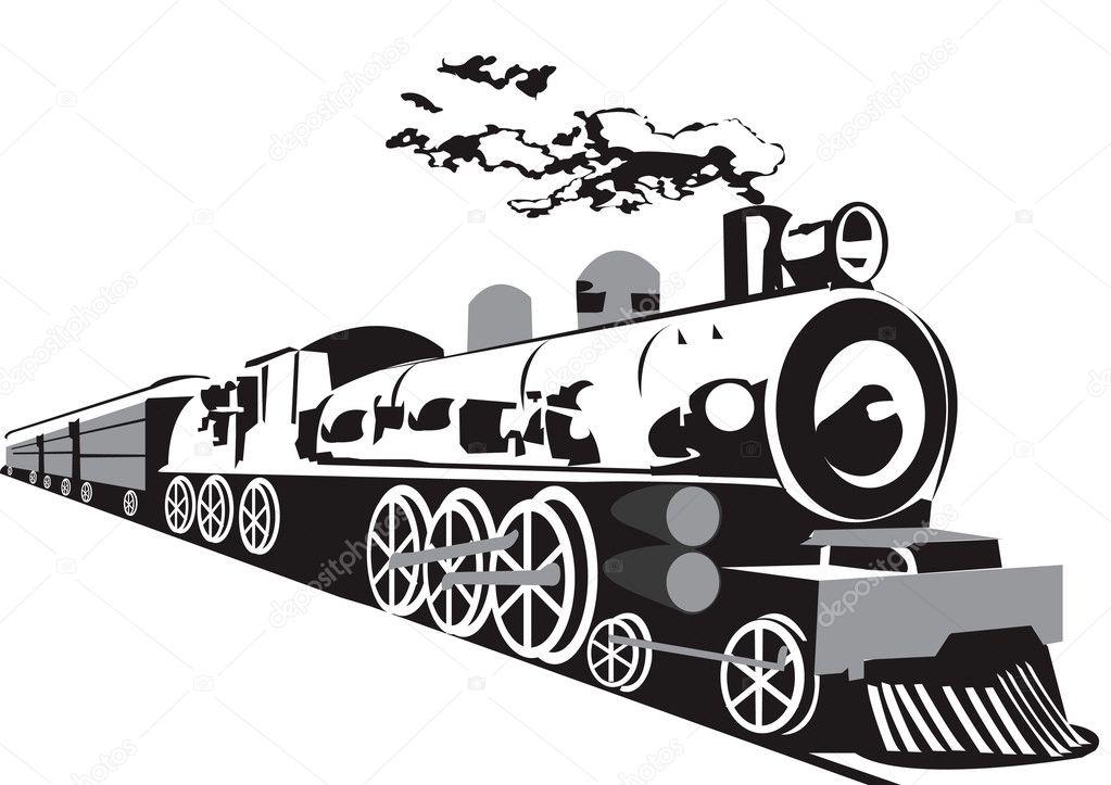 老蒸汽火车上孤立的白色背景— 矢量图片作者 stiven