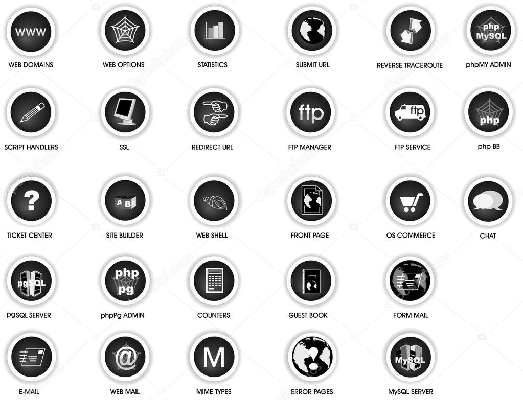 Illustrations of icons for web site control panel - ideal for servers  Stock Vector #2839150