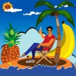 Enjoying in lonely island — Stock Vector