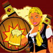 Girl with a beer. - Stock Vector