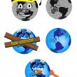 Stock Vector: Funny globes
