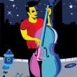 Man with double bass - Stock Vector