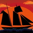 Sunset sailboat — Stock Vector