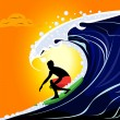 Surfer on the wave. — Stock Vector