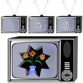 Vecchia tv — Vettoriale Stock