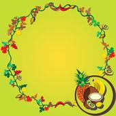 Tropical fruit wreath. — Stock Vector